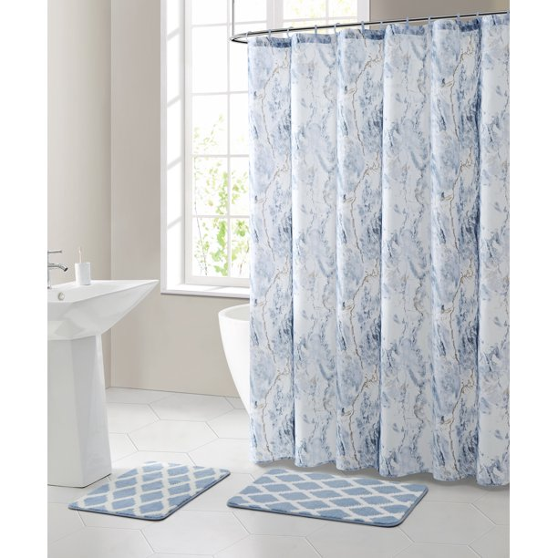 Blue Marble Polyester Shower Curtain, Marble Bathroom Set With Shower Curtain