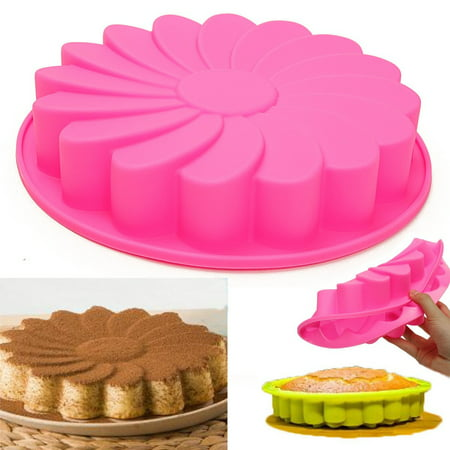 Megiar Food Grade Silicon Mold Large Round Silicone Flower Cake Bakeware Baking Cup Pan Cupcake Liner Mold