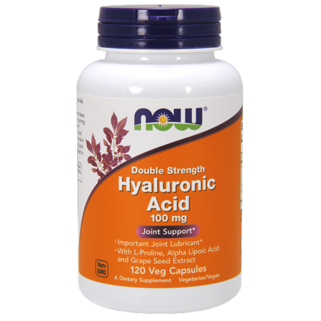 NOW Hyaluronic Acid 100 mg 2X Plus Vegetable Capsules, 120 Ct