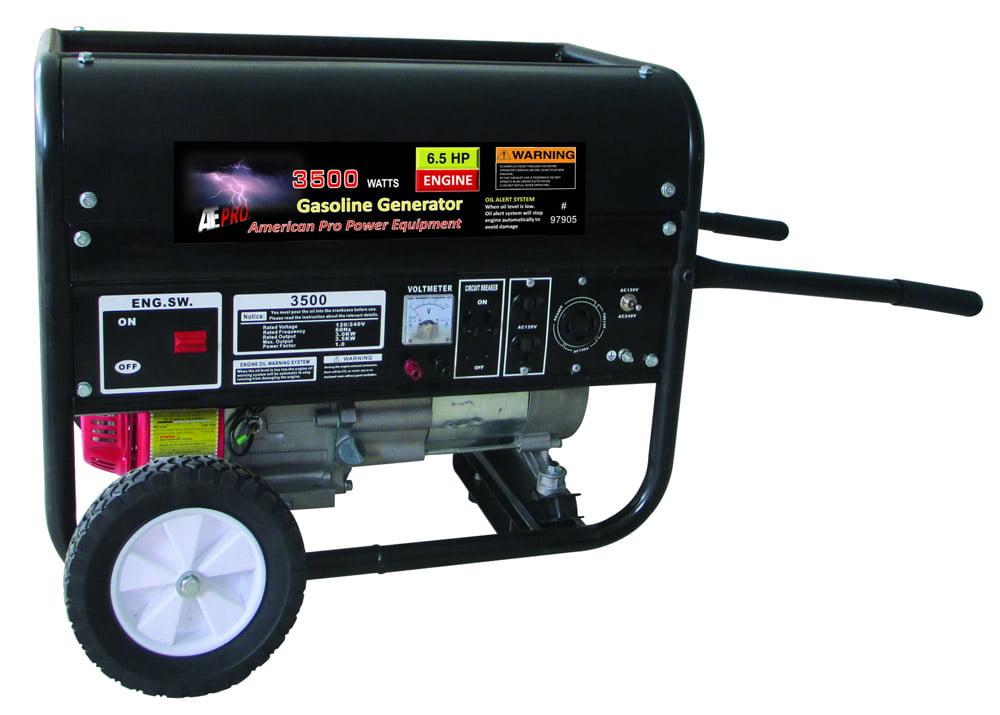3500W Gasoline Generator w  Pull Start and Wheel Kit EPA by