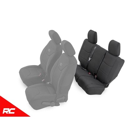 Rough Country Neoprene Seat Covers Rear Black compatible w/ 2013-2018 Jeep Wrangler JK 4DR Custom Water Resistant 91004R ()