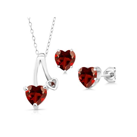 2.71 Ct Heart Shape Red Garnet 925 Sterling Silver Pendant Earrings Set