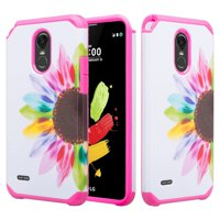 For LG Stylo 3, Stylo 3 Plus Case - Wydan Slim Hybrid Shockproof Hard TPU Protective Rubber Phone Cover - Colorful Sunflower