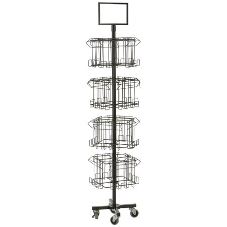 Literature Rack - Floor Standing Portable Literature Rack, 16 Pockets for Magazines, Spinning, Tiered (Steel Wire) (4RTMZBRBK)