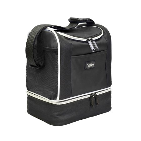Lunch Bag Cooler Tote Thermal Insulated Waterproof Double Decker with Zipper Closure Adjustable Shoulder Strap by Vina