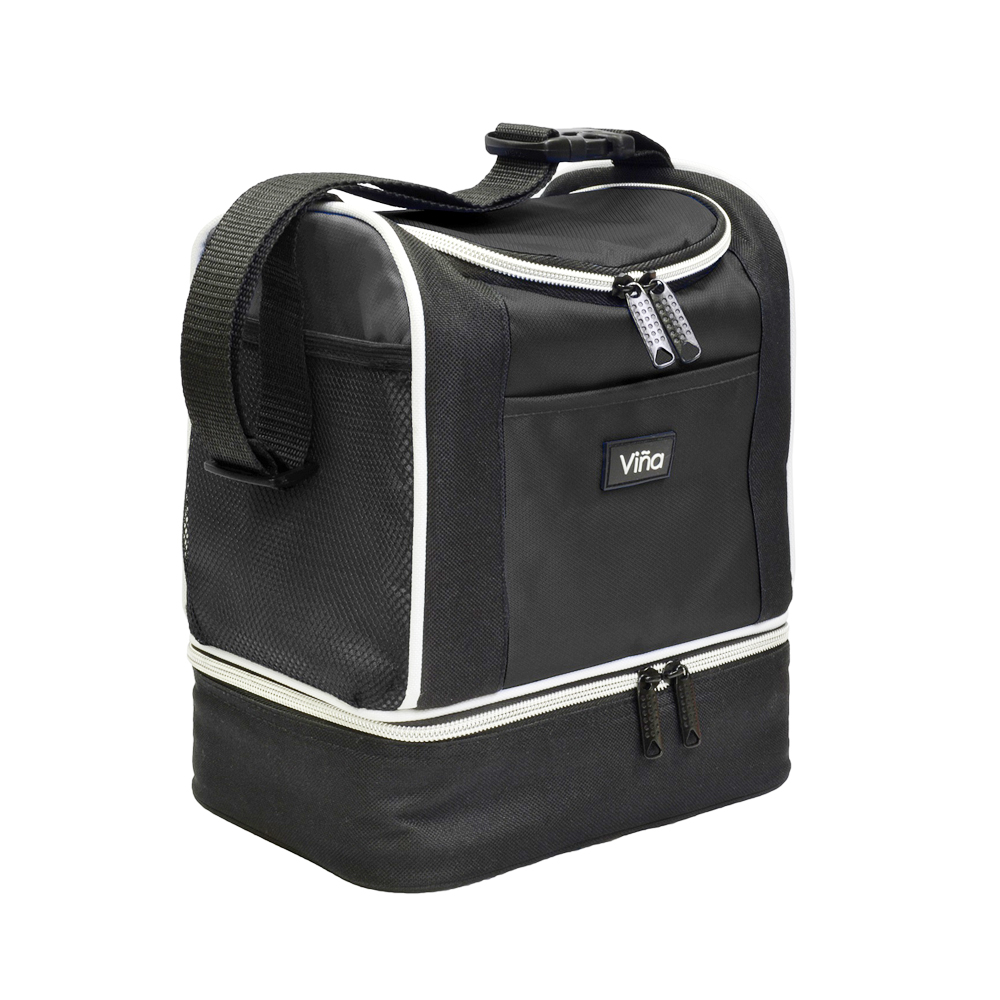 Vina Lunch Bag Cooler Tote Thermal Insulated Double Decker with Zipper Closure Adjustable Shoulder Strap