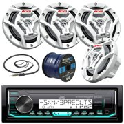 """Marine Audio Bundle Package - JVC KDX33MBS Boat Yacht Radio Stereo Receiver Combo With 4x JVC CS-DR6201MW 300-Watt 6.5"""" 2-Way Coaxial Speakers + Radio Antenna + 50 Foot Speaker Wire"""