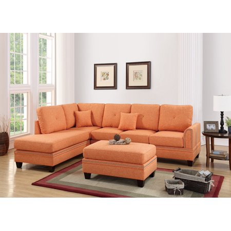 2-pcs Sectional Sofa Citrus Modern Sectional Reversible Chaise Sofa Pillows  Polyfiber Couch Living Room Furniture