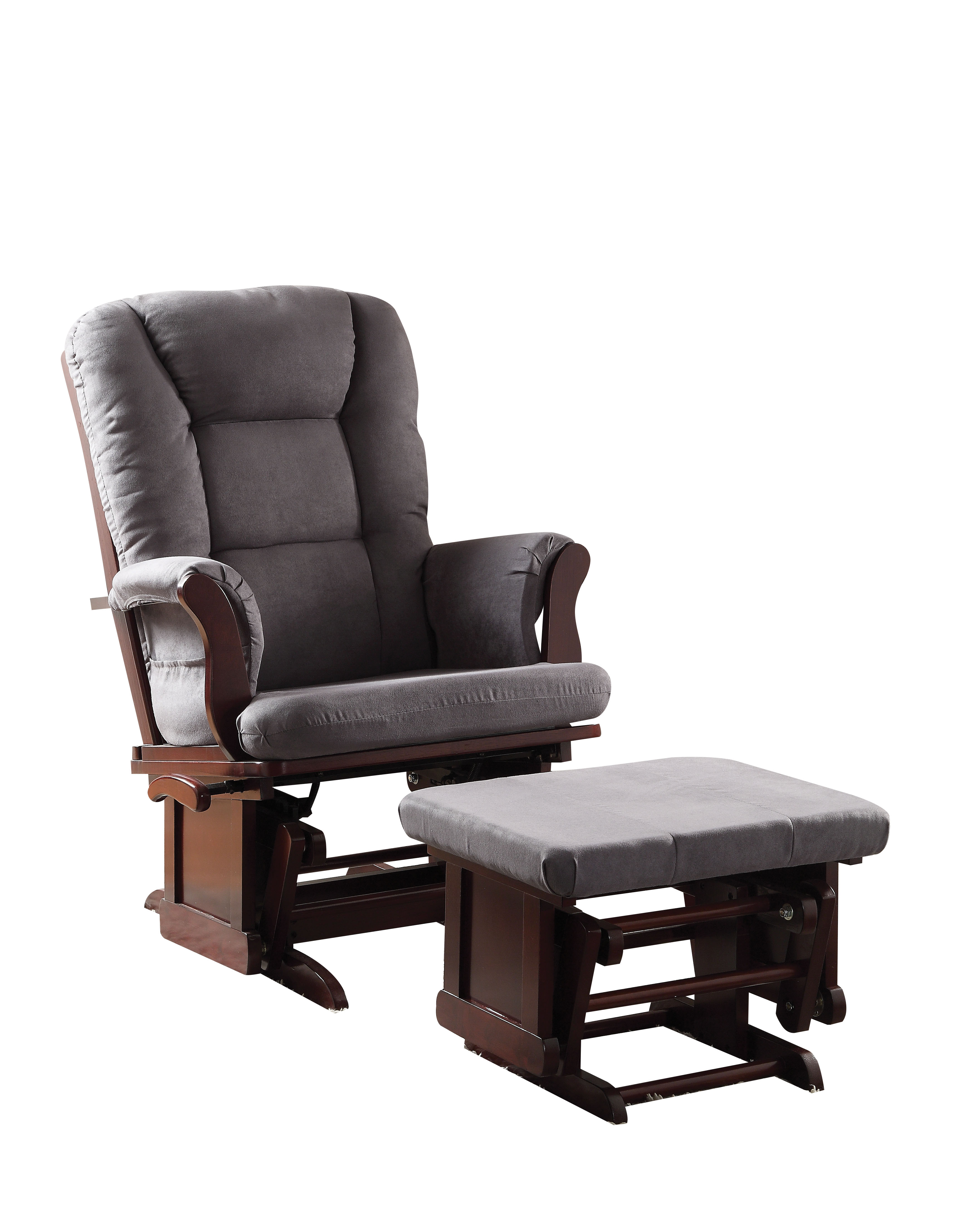 ACME Aeron 2-Piece Pack Glider Chair & Ottoman, Gray Microfiber & Cherry by ACME Furniture
