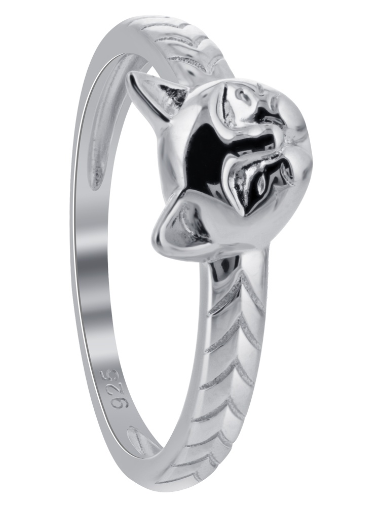 Rhodium Plated 925 Sterling Silver Cat Ring