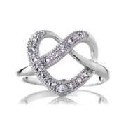 Emitations Sterling Silver Twisted Heart Ring