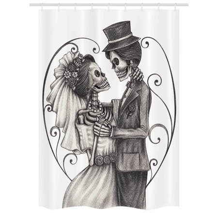 Day Of The Dead Stall Shower Curtain Love Skull Skeleton Marriage Eternal Theme Spanish