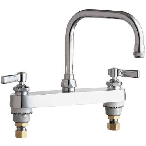 CHICAGO FAUCETS 527-ABCP GN Kitchen Faucet, 2.2 gpm, 6-1/4In Spout