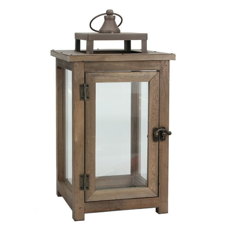 Decorative Wooden Candle Lantern with Hanging Loop, Large