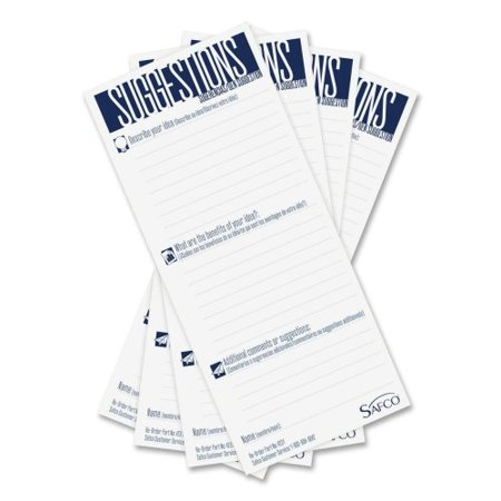 "Suggestion Box Card Refills - 8"" x 3.5"" Sheet Size - White - 25 / Pack, A pack of 25 white 3 1/2 x 8 suggestion cards for Safco® suggestion boxes. By Safco Ship from US"