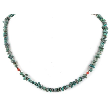 200 Retail Tag Authentic Made by Charlene Little Navajo .925 Sterling Silver Natural Turquoise Coral Native American Necklace