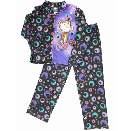 Girls Flannel Bobby Jack Monkey Pajamas Blue & Purple Hearts Sleep Set