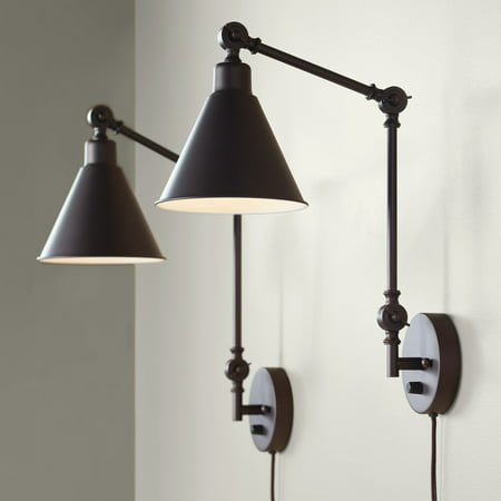 - 360 Lighting Modern Industrial Up Down Swing Arm Wall Lights Set of 2 Lamps Dark Brown Sconce for Bedroom Reading