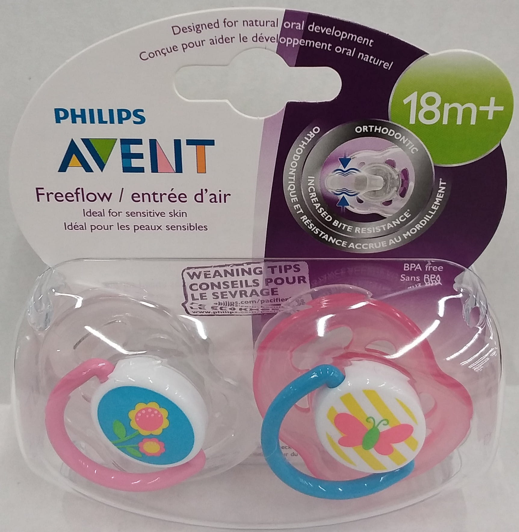 2 Ct 6-18m Pack of 2 Blue Turtle Design Philips Avent Free Flow Pacifiers