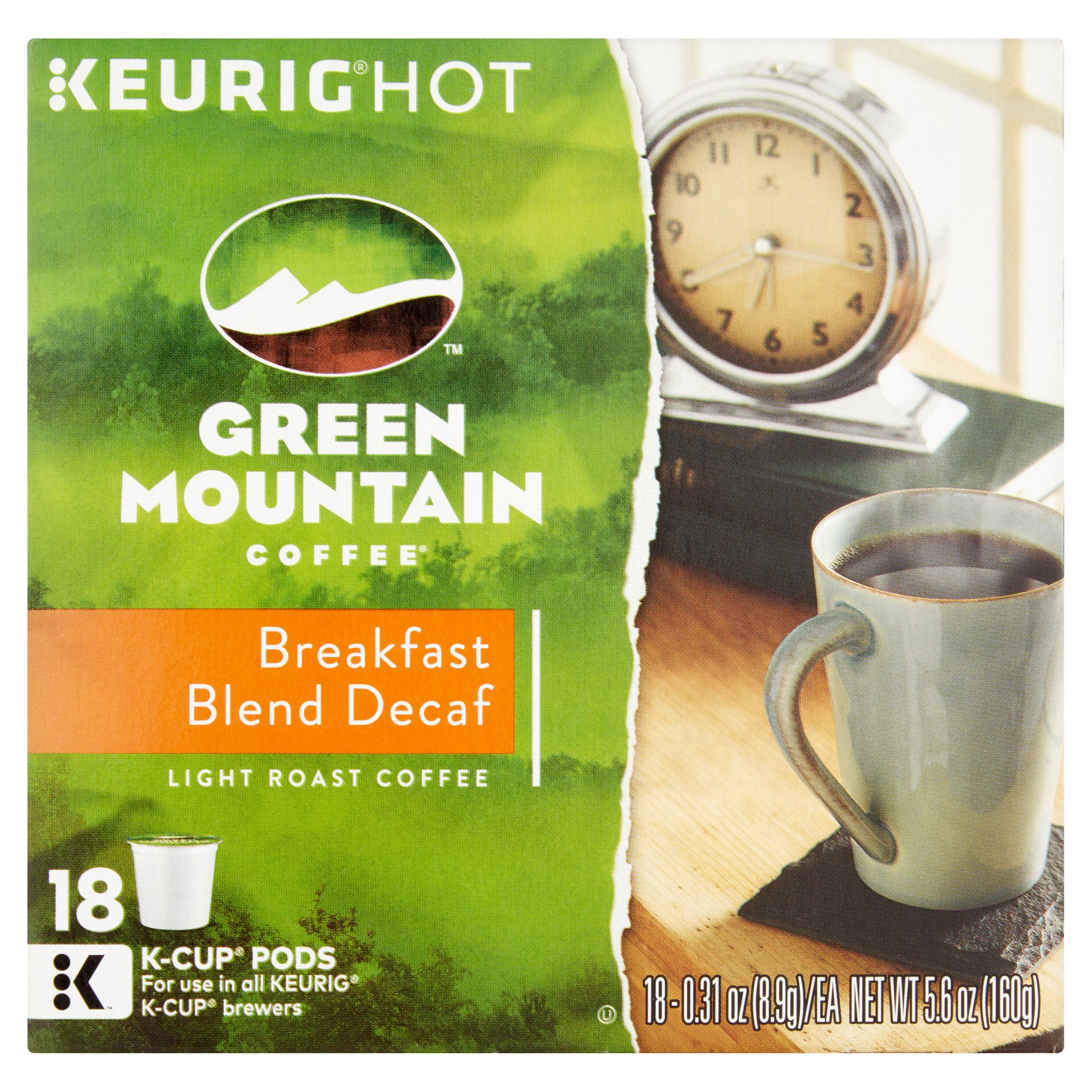 Keurig Hot Green Mountain Coffee Light Roast Coffee Breakfast Blend Decaf K-Cup Pods, 0.31 oz, 18 ct