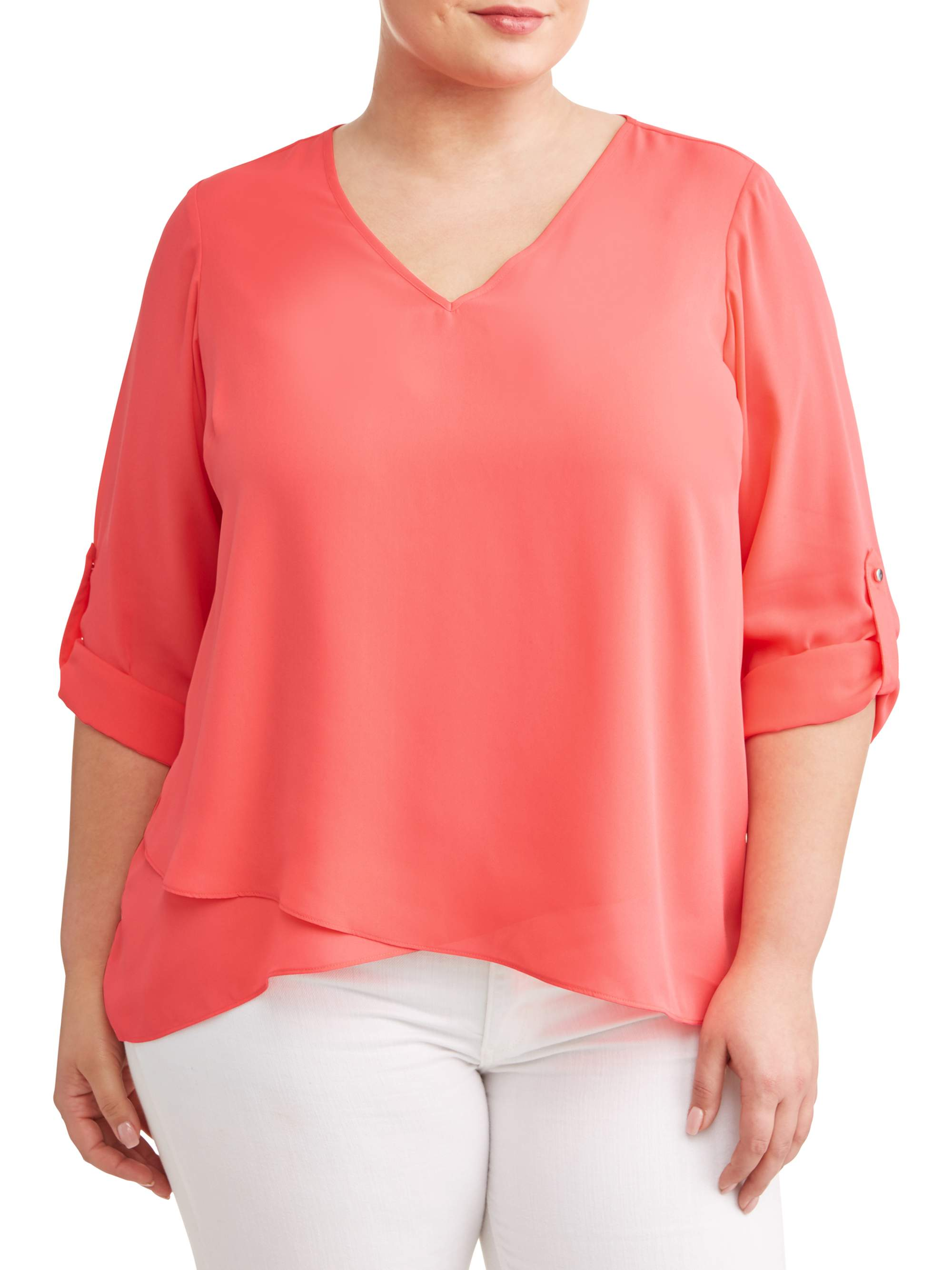 Women's Plus Sized Tab Sleeve Angled Layer Blouse