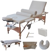 """Costway 84""""l 3 Fold Massage Table Portable Facial Bed W/sheet+cradle Cover+2 Bolster (White)"""