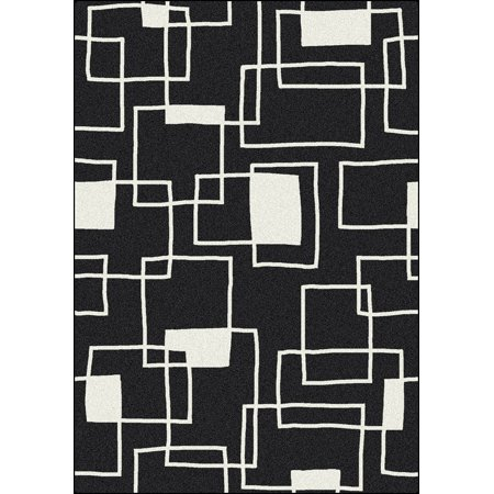 Milliken Black White Area Rugs Contemporary Box Bo Squares Outlines Rug