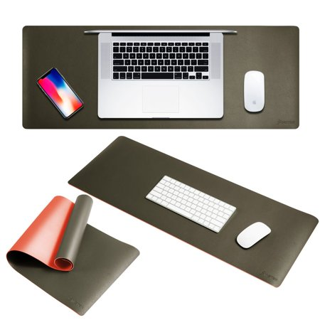 Large Mouse Pad Leather by Insten Double Sided Color Extra Large Leather Mousepad Keyboard Mat with Waterproof Resistant Silky Smooth Surface For Desk Desktop Gaming 31.5