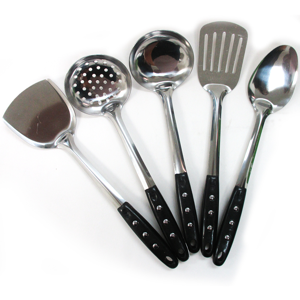 5 Stainless Steel Kitchen Cooking Utensil Set Serving Tools Server Spatula Spoon