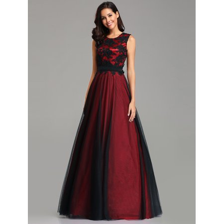 147d6b1c8b7 Ever-Pretty Women s Sexy Sheer Tulle Long Party Cocktail Evening Prom  Formal Dresses for Women 07545 Burgundy US 14