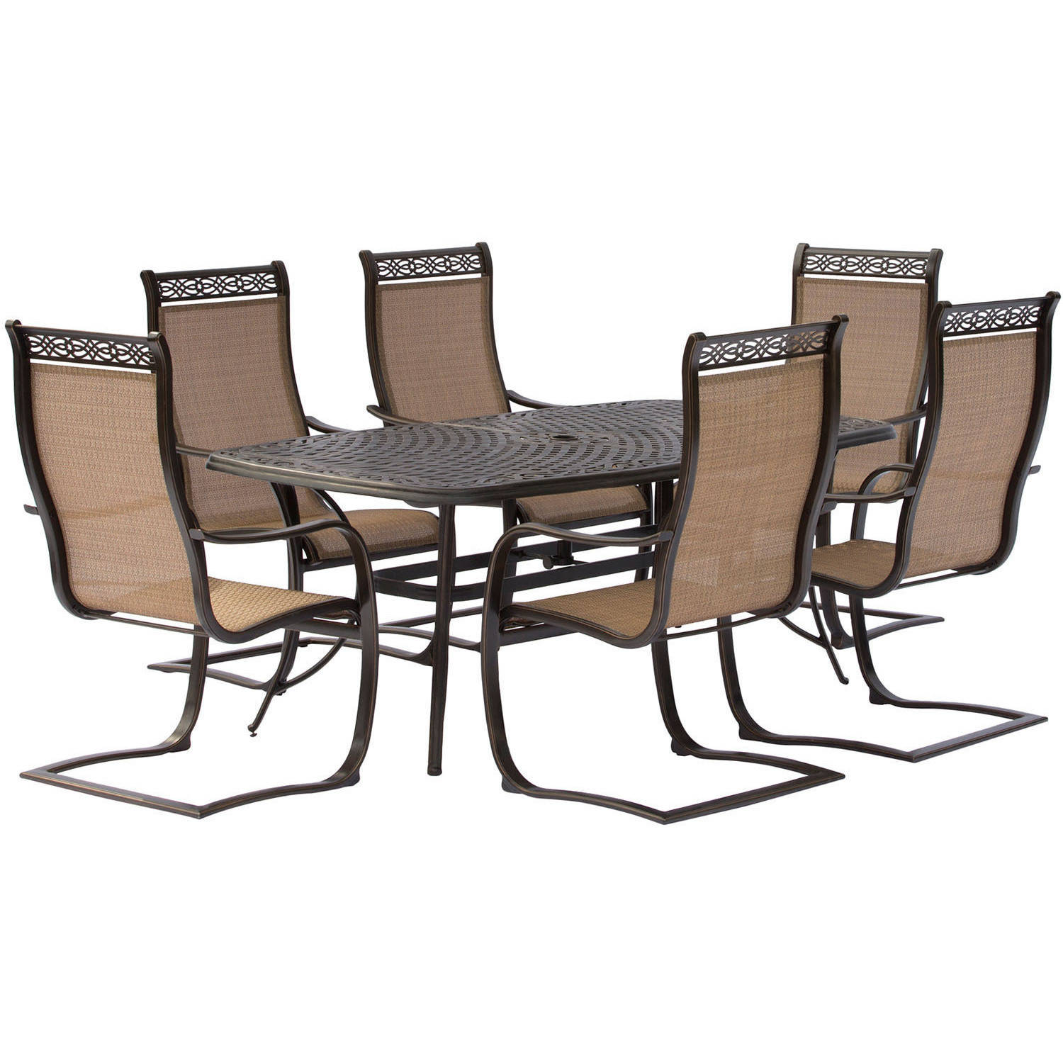 Hanover Manor 7-Piece Outdoor Dining Room Set with C-Spring Chairs by Hanover