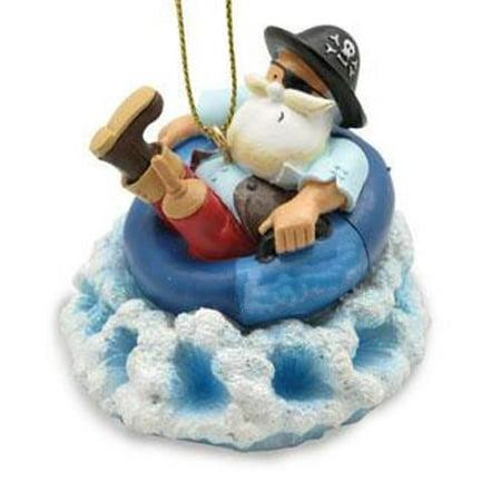 Peg Leg Pirate Santa in Inner Tube Christmas Holiday Ornament Make Pirate Peg Leg