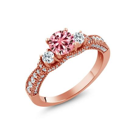 18k White Gold Moissanite Ring - 18K Rose Gold Plated Silver Ring Pink Created Moissanite Topaz White 0.50ct DEW