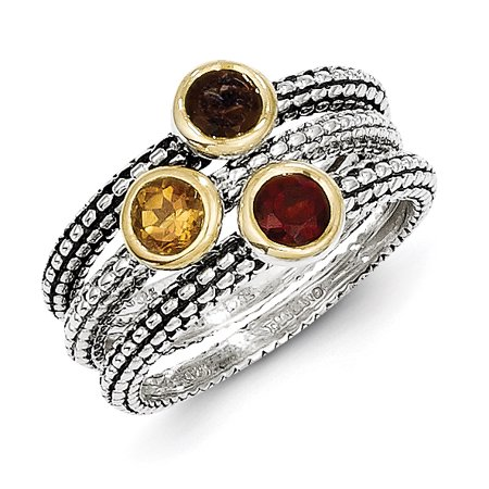 - Sterling Silver 2 MM Shey Couture 925 and Gold-tone Accents Garnet/Citrine/Smoky Quartz 3 Stackable Ring, Size 6s