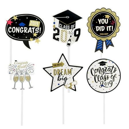 Fancyleo 2019 Graduation Cupcake Toppers Congrats Grads Cake Topper for Graduation Party Supplies - Cake Toppers For Graduation