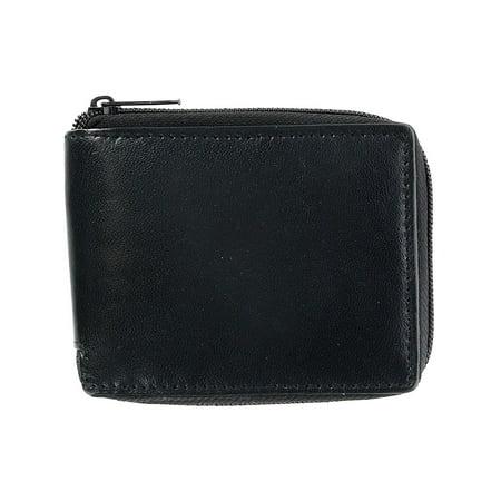 CTM®  Leather Zip-Around Wallet with Window Insert Snap Cover (Men's) ()