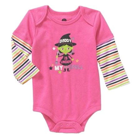 Infant Girls First Halloween Witch Creeper Daddy is Under My Spell Bodysuit - 1st Halloween Onesie