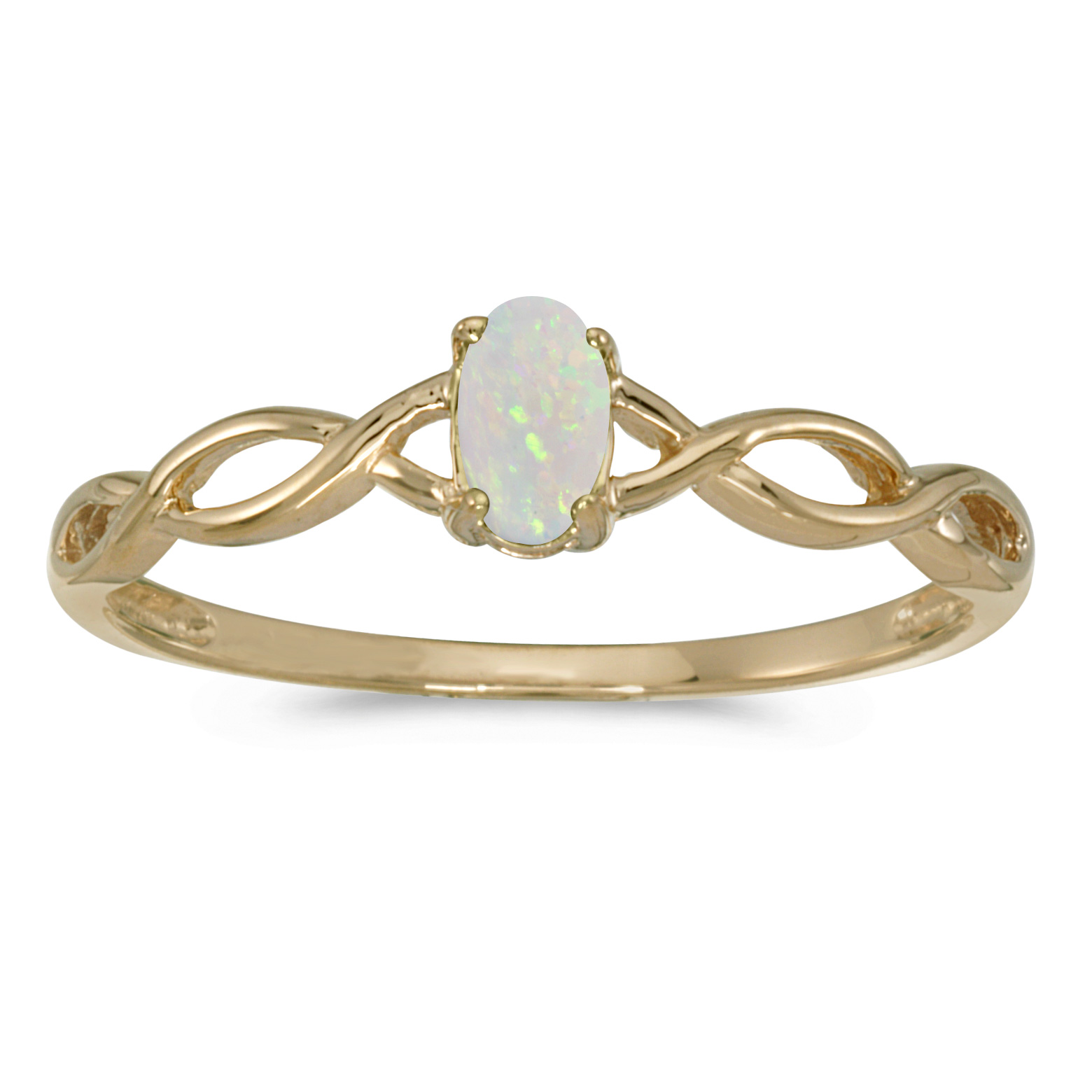 10k Yellow Gold Oval Opal Ring by