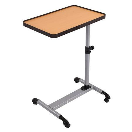 Split Top Overbed Table - Gymax Adjustable Rolling Overbed Table Laptop Desk Tilting Top