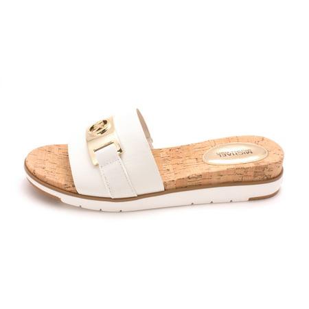 e327831ef3f2 Michael Michael Kors - Michael Michael Kors Womens Warren Sandal Leather  Open Toe Casual Slide Sandals - Walmart.com