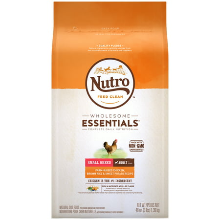NUTRO WHOLESOME ESSENTIALS Small Breed Adult Dry Dog Food, Farm-Raised Chicken, Brown Rice & Sweet Potato Recipe, 3 lb. Bag ()