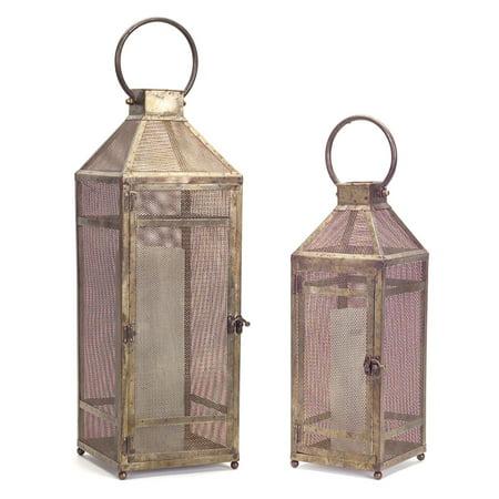 Melrose International Metal Mesh Lantern - Set of 2