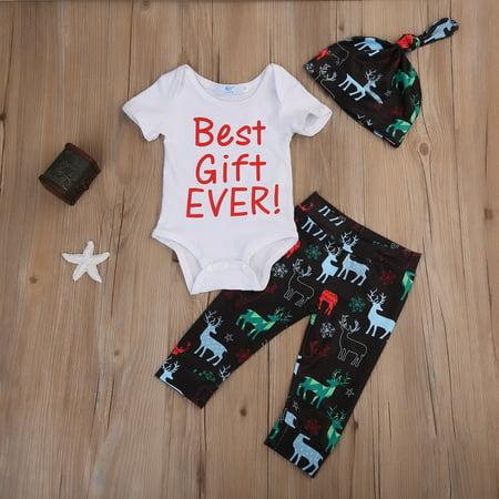 Baby Girl Boy Short Sleeve Best Gift Ever Bodysuit + Deer Pants + Hat Christmas Outfit