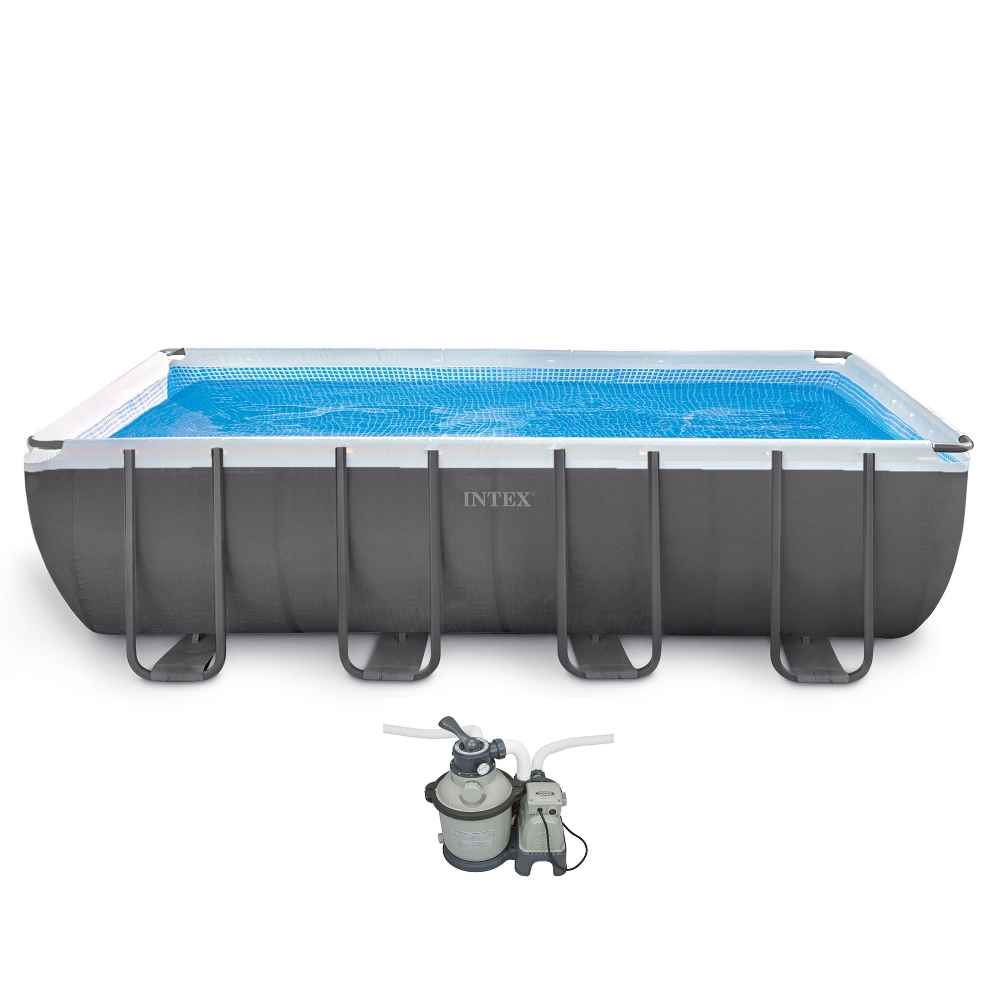 "Intex 18' x 9' x 52"" Ultra Frame Rectangular Above Ground Pool w  Pump & Ladder by Intex"