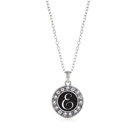 My Script Initials - Letter E Circle Charm Necklace ()