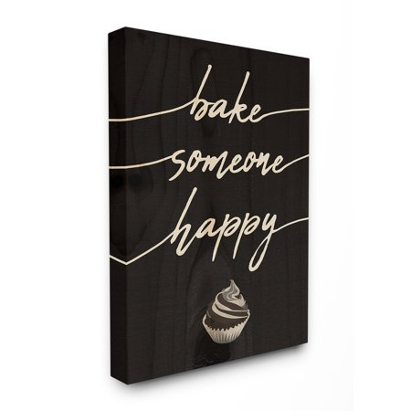 The Stupell Home Decor Collection Bake Someone Happy Cupcake Script Typography Stretched Canvas Wall Art, 30 x 1.5 x 40](Hippy Home Decor)