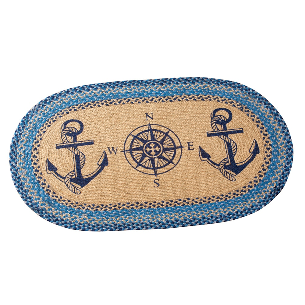 Nautical Ocean Anchor Compass Braided Accent Rug by Collections Etc
