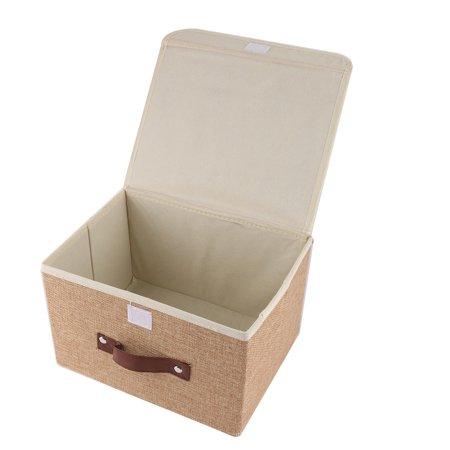 Household Cotton Linen Towel Socks Book Paper Holder Storage Box Organizer Khaki - image 2 of 5