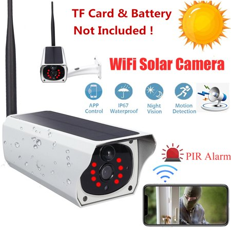 HD 1080P Outdoor Waterproof Solar Security Camera Wireless WIFI IP Cam Night Vision PIR Detection for Android/IOS APP Porch Garden Patio Driveway (TF Card & Battery Not