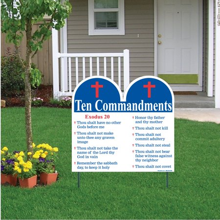 - Ten Commandments Shaped Yard Sign with Stakes - Religious Yard Sign